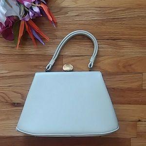 VINTAGE Dova USA Cream Structured Handbag